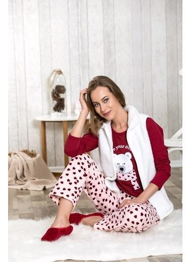 Lingabooms Yazılı Kadın 3'lü Pijama Takım  Kırmızı